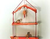 HOLD for Nicole__Hanging Driftwood Shelf, Tangerine, Sunrise Sunset Mandala, Hand Painted Art, Ocean Beach Bliss Zen Home Patio Decor