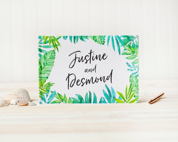 Wedding Guest Book for Beach Wedding Horizontal Guest Book destination wedding album guest sign in book palm tree guest book wedding planner