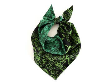 Emerald green silk scarf, Liberty abstract art print and a bold paisley, double sided, fashion scarf, party accessory