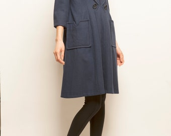 1950-1960's wool navy dress coat
