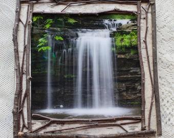 Handcrafted Birchbark Framed Waterfall Photograph
