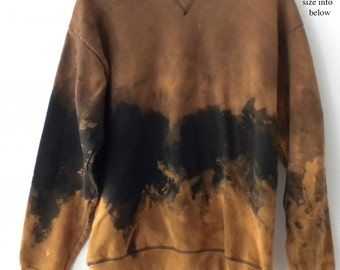 Black Sweatshirt, Black crewneck sweatshirt, Dip dye, acid wash sweatshirt, sweater, crew neck, sweatshirt, Boho, Grunge, gift