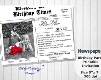 Newspaper invitation etsy newspaper invitation newspaper birthday invitation first page invite newspaper themed photo birthday stopboris Images