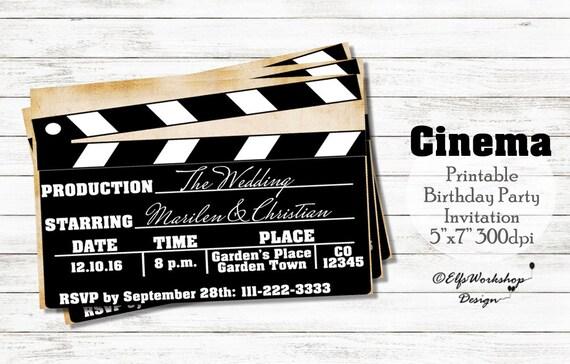 Gut gemocht Items similar to Cinema wedding invitation, cinema theme  MU26
