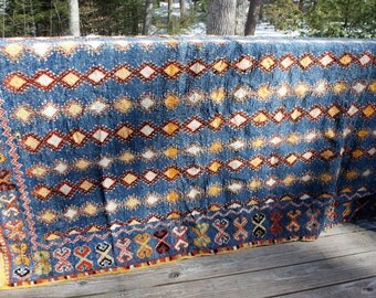 Moroccan rug/ Tribal rug/ Berber rug/carpet/ wall hanging/tapestry/turquoise/yellow / geometric/ bright color/Boho/