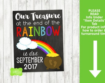 St. Patrick's Day Pregnancy Announcement Sign - Printable Pregnancy Announcement Sign - Digital Chalkboard Sign - Rainbow Pregnancy Sign