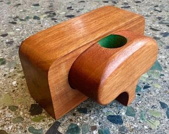 Beautiful Vintage Carved Wood Stash Box RDH