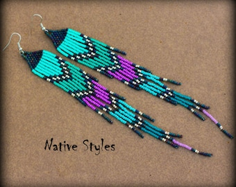 """7.5""""Long Bohemian Beaded Earrings~Seed Bead Shoulder Dusters~Turquoise Chic~Turquoise BOHO~Native American Style Long Dusters~Native Beaded"""