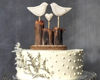 Love Birds Wedding Cake Topper, Bird Cake Topper/ White Wedding/ Wooden Anniversary Gift