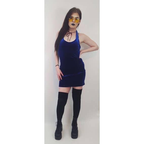 90's Royal Blue Velvet Mini Dress Medium - Bodycon Sexy Halter Dress - Deep Blue Velvet Women's Party Dress - Vintage 90's Party Girl Style