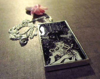 Venus Black and White Cyber Gothic Art Pendant Illustration Silver Plated Chain Necklace
