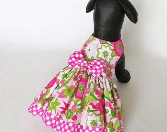 Dog Dress - Floral Dog Dress, Small Dog Dress, Dog Birthday Harness Dress, Pet Dress Dress