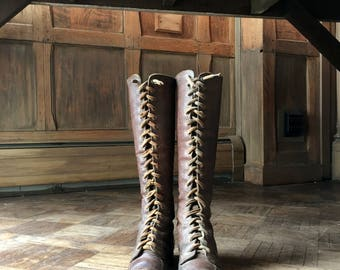 Pair Of Antique Leather Boots, Tall Lace Up Leather Boots, Hood Suprex Genuine Leather Boots, Leather Decor