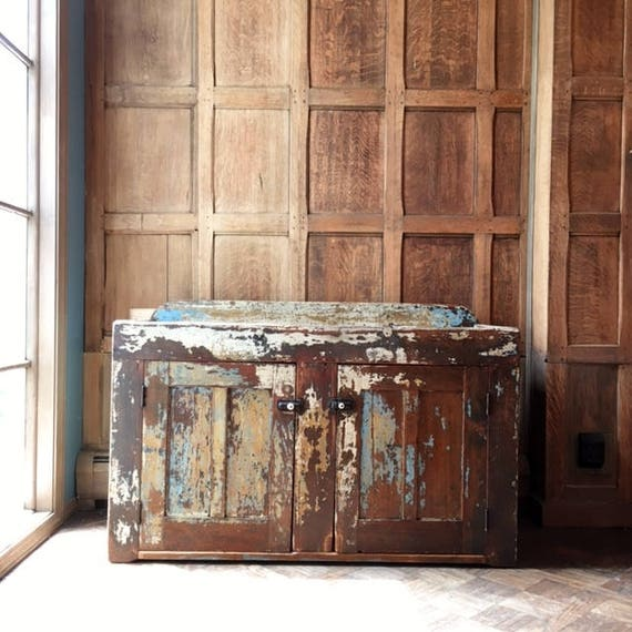 Antique Dry Sink, Original Layered Chippy Paint, Farmhouse Furniture, Dry Sink Bar, Cottage Chic Furniture, Entryway Table