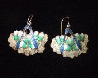 Shashi Cloisonné Enamel over Silver Iris Earrings, White, Cream, Cobalt Blue, and Green