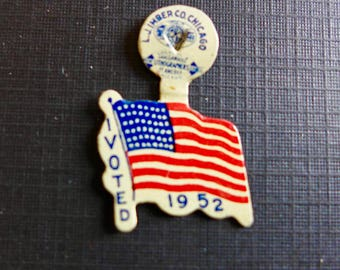 """Vintage American Flag Tab / 1952 Presidential Election / """"I Voted 1952"""" / Republican Party"""