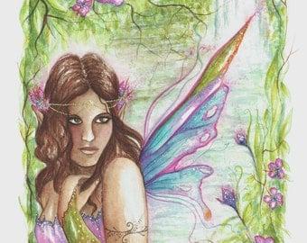 Rainforest Fairy Original Watercolour Painting/Fairy Art/Faerie Art/Original Art/Rainforest/Tropical/Flowers/Waterfall