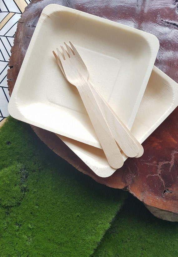 10 x wood plates cake plates canape party plates for Disposable canape dishes