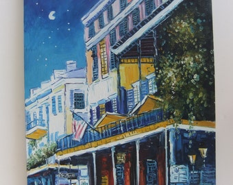 Original Painting of Street Scene American Flag in French Colonial Setting maybe in New Orleans or on Mediterranean at Night