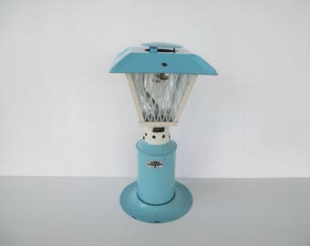 Vintage Thermos Patio Light No 8352, Blue U0026 White Painted Metal Camping  Outdoor Propane Lantern