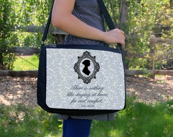 Nothing Like Staying At Home Jane Austen Quote Canvas Laptop Messenger Bag Purse