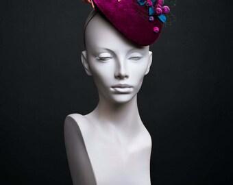 "Beret made of silk velvet ""Berry mix"". Coctail hat. Evening headpiece. Fashion headwear. Winecolor. Burgundy."