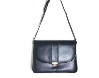 Smart black leather satchel / 80s smart leather handbag / 80s work bag / satchel shouder purse / black leather handbag / excellent conditon