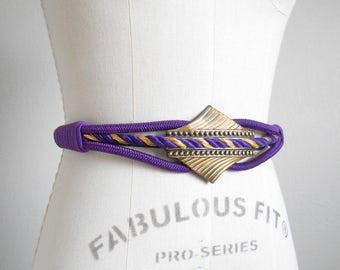 80s vintage belt - purple rope belt gold - 80s Royal Welcome belt