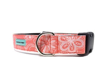 Coral Floral Dog Collar | Flower Dog Collar Available in 4 widths