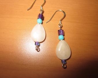 Aqua and Purple Glass Beads with Teardrop Howlite Stone