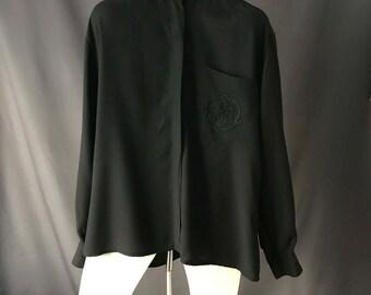 Vintage Mao collar black shirt / 1990s black botton down viscose blouse / minimalist shirt