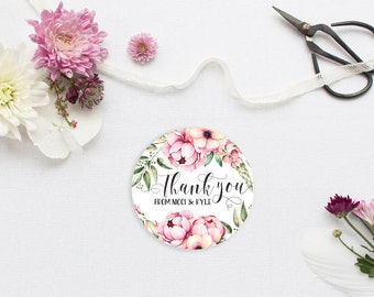 Boho Wedding Favor Stickers - Custom Thank You or Favor Stickers - Floral Peonies Calligraphy Thank You Stickers or Labels
