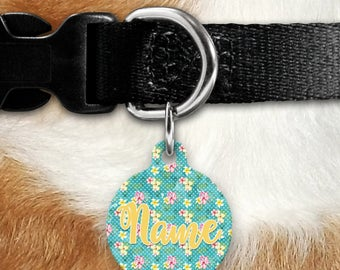 Tropical Floral Pet Tag - Flowers - Personalized Tag - Tropics - Name Tag - Girl Tag - Two Sided Tag - Name Tag - Jungle - Colorful Flowers
