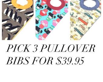 Pullover Bibs - Toddler Bibs -  Toddler Pullover Bib - Baby Bibs - Set of 3 Baby Bibs - Gender Neutral Baby Gift - Baby Gift Set -  Boy Bib