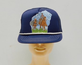 Vintage Navy Blue Wisconsin State Trucker Hat with Mesh Back; Cowboy Western Cool Camping; FREE SHIPPING U.S.A.