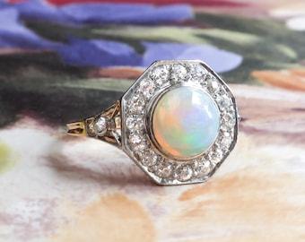Vintage Art Deco Opal Old European Cut Diamond Halo Ring Circa 1930's 18k Yellow Gold Platinum Ring