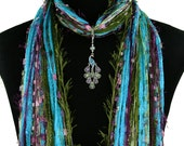 Peacock Scarf Necklace, Turquoise Green, Peacock Pendant, Unique Women's Gift, Gift for Her, Boho Fringe Scarf, Asian Scarf