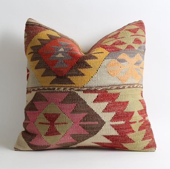 Turkish Kilim Pillow Home Decor Decorative Pillow Home: Decorative Kilim Pillows Bohemian Home Decor Handwoven Pillow