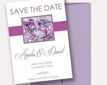 Save the Dates, Lavender Florals, Romantic Wedding Announcements - DEPOSIT