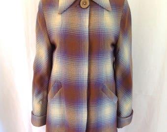 1940's Pastel Wool Shadow Plaid Swing Jacket Sz. S/M
