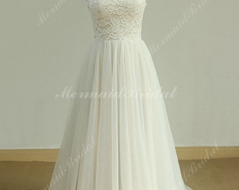 Flowy Aline Tulle Lace Beach Wedding dress, destination wedding dress with corset back and Nude Lining