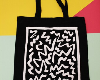 Lines Black Tote Bag