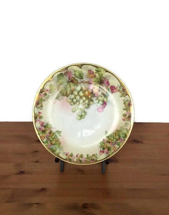 Royal Rudolstadt plate vintage Prussia made saucer grape leaf gold ri