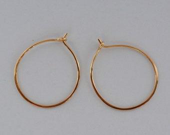 14K Solid Gold  Hoop earrings, One inch gold Hoop Earrings, Gold Hoops, one inch 14K Gold Earrings, Gift