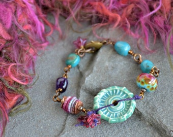 boho style mixed media wire wrapped turquoise and amethyst cozy bracelet