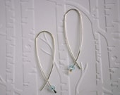 Simple Silver Earrings with Light Blue Swarovski Crystal Element Bead - Contemporary Minimalist Style Threader