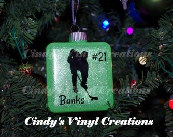 Custom Personalized Boy Hockey Glitter Christmas Ornament - College, Pro, School - Coach, Goalie -New Designs for 2017! Gift Box Included
