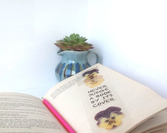 """BOOKMARK """"Never judge a book by its cover"""" handmade with pressed flowers, book accessories for booklovers & readers, FATHER'S DAY gift"""