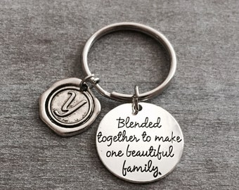 Blended together to make one beautiful family, Stepmom, Stepdad, Stepson, Foster Mom, Mother in Law, Silver Keychain, Silver Keyring, Gifts
