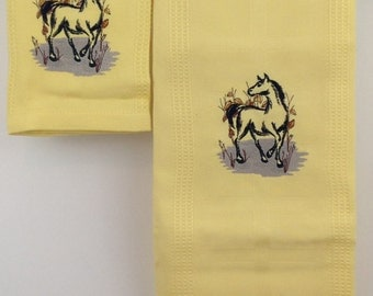 Brushstroke Horse Embroidered Bamboo Hand Towel and Dish Towel - Yellow